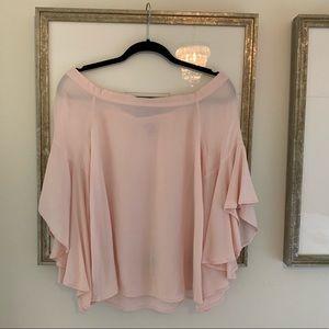 Pink Off-the-Shoulder Flutter Sleeve Top